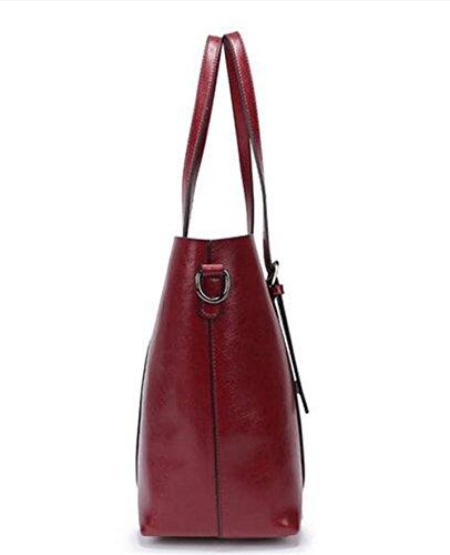 del de Rojo de bolsos cuero de Cera Sra la cuero de Bolsos hombro Bag compras Portable Big bolsa aceite fHnSq8w
