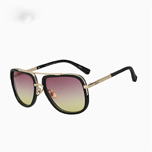 (YHNSHKHKU Designer Sunglasses Men Women Retro Vintage Sun Glasses Big Frame Fashion Glasses Eyeglasses Uv400 Pink Yellow Lens)
