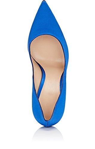 Satin Party Schuhe Damen Brautschuhe for Blau Pumps Pumps Spitze Horzeit EDEFS UE6qgP