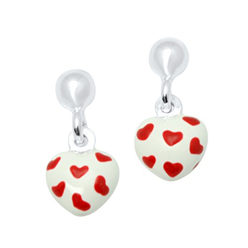 UNICORNJ Sterling Silver 925 Childrens Earrings with Enamel White and Red Heart Charm Italy