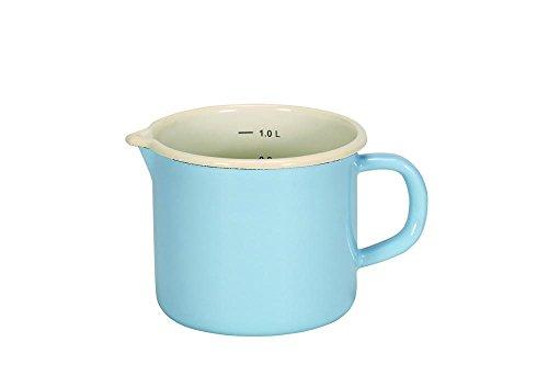 Krüger 17012PAB Sylt Topf in Milch mit Auslauf Emaille blau 12cm