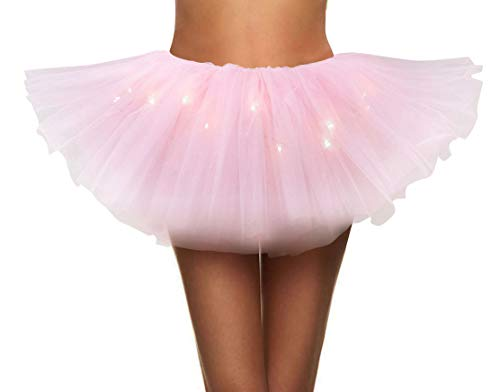 Simplicity Womens LED Light Tutu Skirt Dance Rave Tutu Skirt Dress,Light Pink -