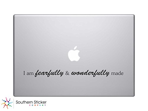 I Am Fearfully and Wonderfully Made Bible Verse Vinyl Car Sticker Symbol Silhouette Keypad Track Pad Decal Laptop Skin Ipad Macbook Window Truck - Verse Laptop Decals Bible