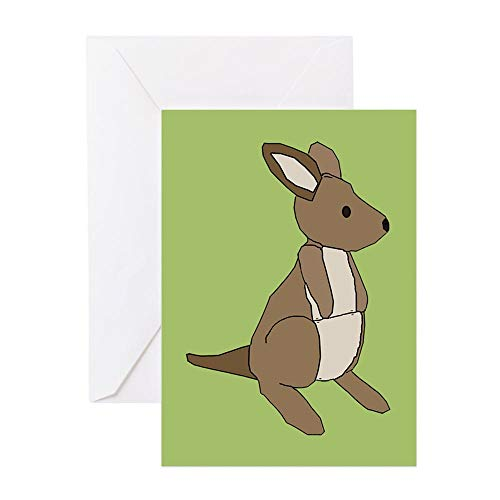CafePress Kangaroo (Green) Greeting Card, Note Card, Birthday Card, Blank Inside Matte
