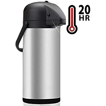 2a4a343eabc Thermal Coffee Airpot - Beverage Dispenser (85oz.) By Vondior - Stainless  Steel Urn For Hot/Cold Water Or, Pump Action, Party Thermos Carafe, Bunn  Brush ...