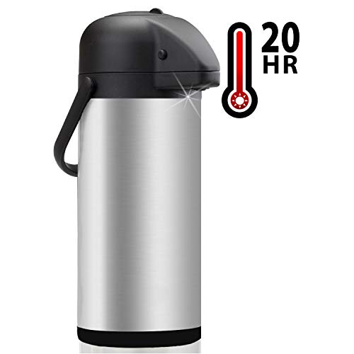 Thermal Coffee Airpot - Beverage Dispenser (85oz.) By Vondior - Stainless Steel Urn For Hot/Cold Water Or, Pump Action, Party Thermos Carafe, Bunn Brush Bonus, Lid Pitcher ()