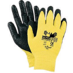 Memphis 9693S Small UltraTech 13 Gauge Cut Resistant Black Nitrile Dipped Palm And Finger Coated Work Gloves With Seamless Kevlar Liner And Knit Wrist (1/PR)