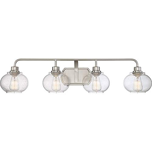 Quoizel TRG8604BN Trilogy Glass Lantern Vanity Wall Lighting, 4-Light, 400 Watts, Brushed Nickel (8