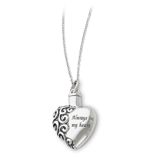 Sterling Silver 925 Heart Shaped Always in My Heart Ash Holder Necklace with 18'' Chain by SVJDirect
