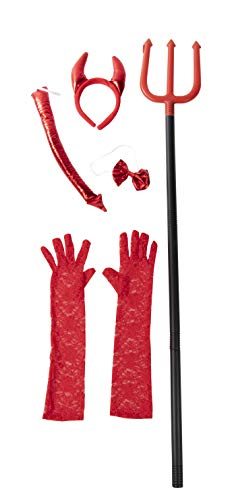 Halloween Red Devil Costume Accessory - 5-Set Lace Gloves, Tail, Bow Tie, Headband, Pitchfork for $<!--$11.99-->