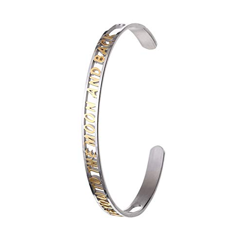 Cuff Bangle Bracelet - Adjustable Stainless Steel Hollow Engraved Bracelets Personalized Bangles I Love You To The Moon and Back Inspirational Jewelry PersonalizedCarved Bracelets for Women Men Gifts