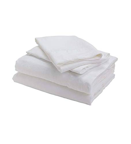 bambeco 100% Pure Natural Flax Linen Bedding Made in Portugal (White, Queen Sheet Set) (Sets Bedding Linen Belgian)