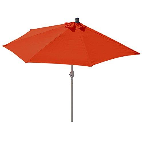 Alu-Sonnenschirm halbrund Parla, Halbschirm Balkonschirm, UV 50+ ~ 270cm terrakotta ohne Ständer