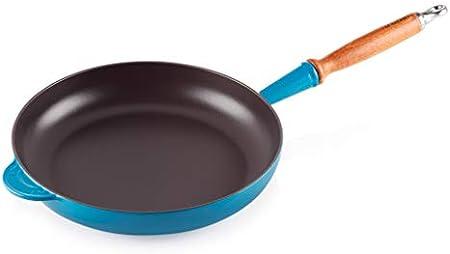 Sartén redonda de hierro fundido para saltear y freír carne, aves, patatas y verduras, Revestimiento