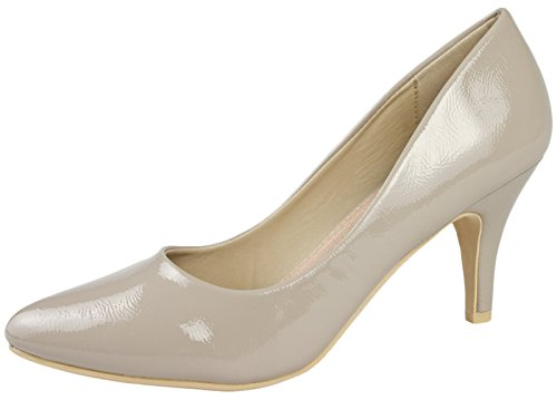 Lora Dora Womens Pointed Toe Court Stiletto Kitten Heels Faux Leather Suede Ladies Shoes Size UK 3-8 Nude Patent High Heel jy0ImQ