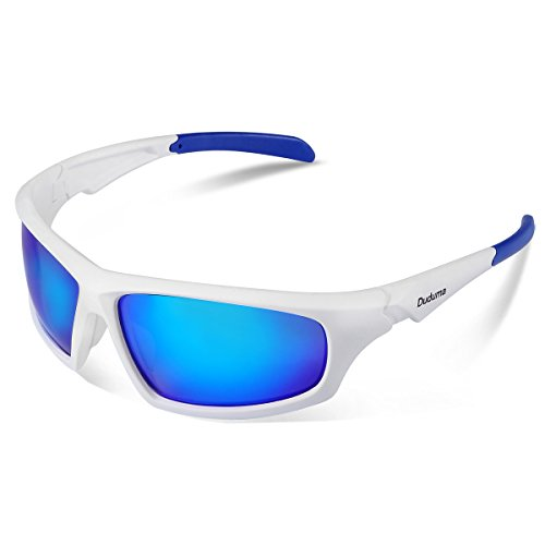 Blue Polarized Lens (Duduma Tr601 Polarized Sports Sunglasses for Baseball Cycling Fishing Golf Superlight Frame (639 white frame with blue)