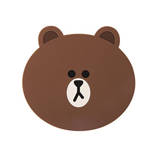 LINE FRIENDS Brown Two-Face Silicon Coaster One Size Brown (Adult Twoface Costume)