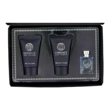 Versace Pour Homme by Versace Gift Set — .17 oz Mini EDT + .8 oz After Shave Balm + .8 oz Hair + Body Shampoo
