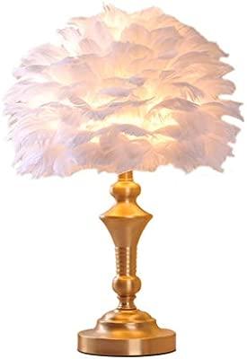 Eva wan Lámpara de Mesa de Plumas Blancas, lámpara de Cobre ...