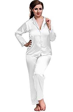 0cd46f1a72 Image Unavailable. Image not available for. Color  Sexy Satin Pyjamas Set  White ...