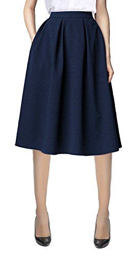 - Urban CoCo Women's Flared A line Pocket Skirt High Waist Pleated Midi Skirt (S, Navy Blue)