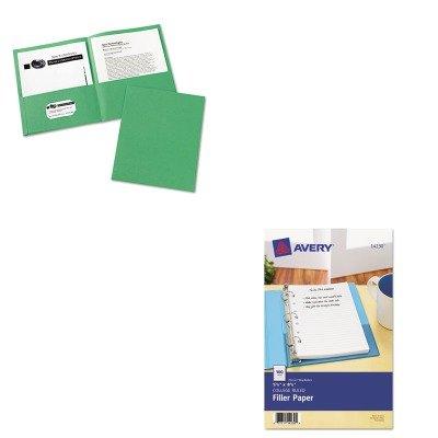 Mini Portfolio Embossed (KITAVE14230AVE47987 - Value Kit - Avery Mini Binder Filler Paper (AVE14230) and Avery Two-Pocket Embossed Paper Portfolio (AVE47987))