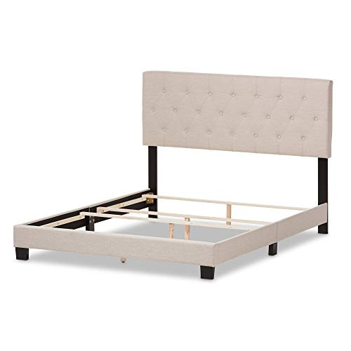 Contemporary Fabric Upholstered Bed with Button Tufted Headboard - Includes Modhaus Living Pen (Queen, Beige)