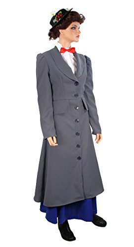 [Women's English Nanny Poppins Costume Coat Gray (X-Large (14-22))] (English Nanny Halloween Costume)