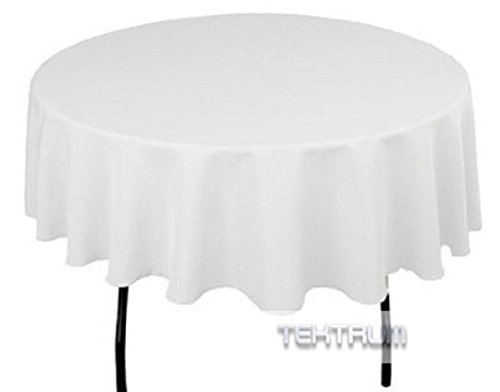 TEKTRUM 90 INCH ROUND POLYESTER TABLECLOTH - THICK/HEAVY DUTY/DURABLE FABRIC - WHITE COLOR