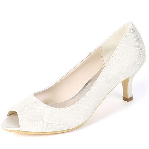 Boda 6cm Heels Toe Classic Encaje Plataforma Las Mujeres Ivory Pumps Chunky yc Fy119 Peep De High L Zapatos tqPz60