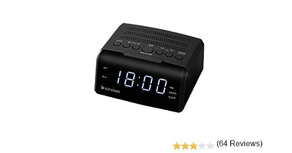 Sunstech FRD35U - Radio despertador con alarma dual, pantalla LED, FM, USB, conexión auriculares, color negro: Amazon.es: Electrónica