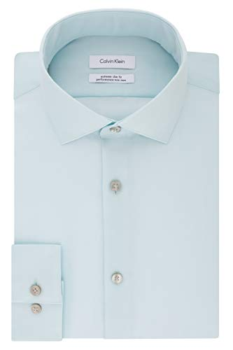 393 Mint (Calvin Klein Men's Dress Shirts Xtreme Slim Fit Non Iron Herringbone, Mint Julip 17.5