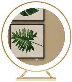 Vanity Mirror Lights Kit グレートミラーゴールドホテルベッドルーム浴室の壁のLEDランプホルダーラウンドバニティミラーを吊るす、サイズ:ビーズミラー(LEDライト)60CM