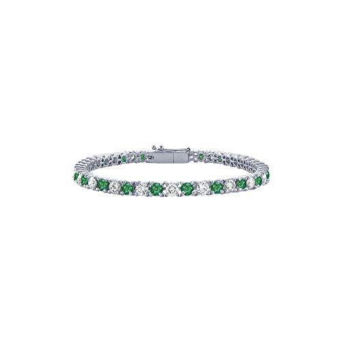 May Birthstone Emerald and Diamond Tennis Bracelet in Platinum 2 CT TGW