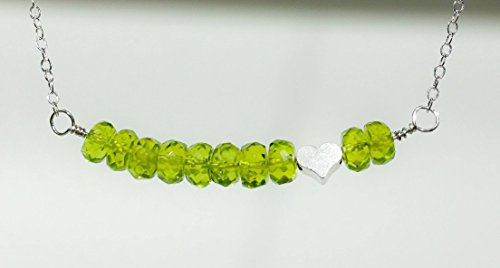 August Birthstone Sterling Silver Necklace Genuine Peridot Gemstone And Heart Pendant 18  Length
