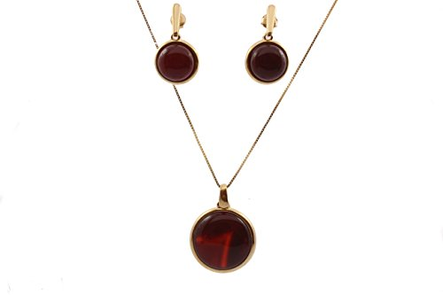 Adrianna Godoy Red Agate Earring and Necklace Set