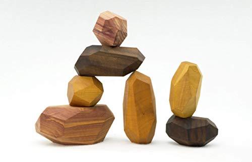 7 Piece Tumi Ishi Building Block Set, wood toy, wood stones, Montessori toy, sensory toy
