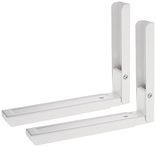 AVF EM60W-A Universal Wall-Mounted Microwave Brackets (Set of 2) - White 2 Wall Mounting Brackets