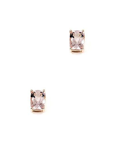 Jaipuri. Instyle-Boucles d'Oreilles Femme-Or 585(14carats)-Morganite (AAA de taille de coussin de qualité)