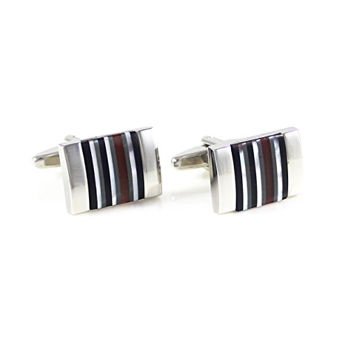 MENDEPOT Rhodium Plated Rectangle Multi-Stone Stripes Cufflink with Box Stone Stripe Cufflink in Box