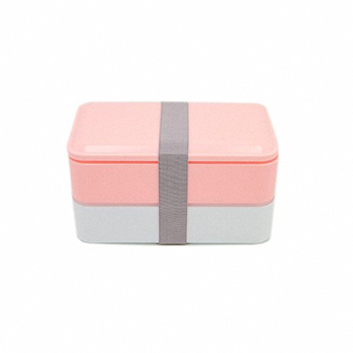 Price comparison product image New Arrival Double Tier Bento Lunch Box 900ml Meal Box Microwave Food Storage Container Bowls Tableware Dinnerware Set Pink