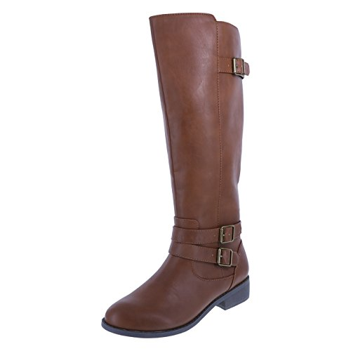 Lower East Side Women's Cognac Women's Maggie Riding Boot 9 (Tall Flat Riding Boot)