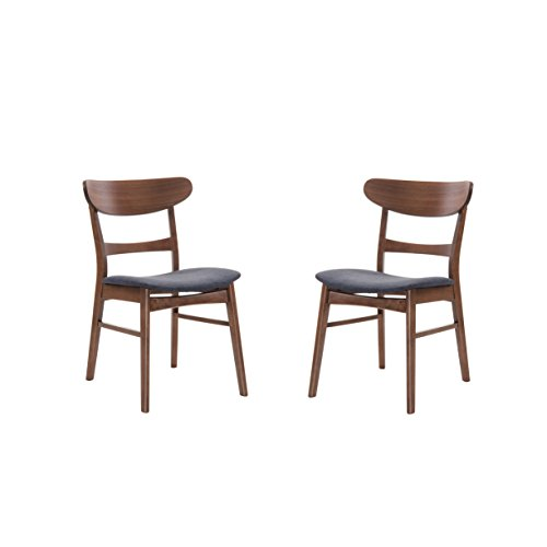 Emerald Home Simplicity Walnut Brown Dining Chair with Upholstered Seat And Curved Back, Set of Two