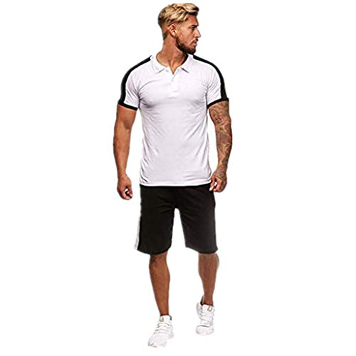 iHHAPY Mens Sports Sets Breathable Quick Dry Summer Short Sleeve Shorts Suit 2pc Absorb Sweat Casual Stripe Patchwork White
