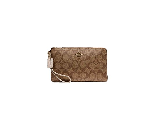 Coated Canvas Gold Leather (COACH Double Zip Wallet In Signature Coated Canvas F16109 LIGHT GOLD/KHAKI PLATINUM)