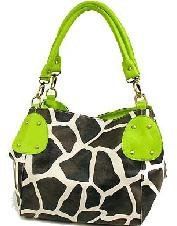 Giraffe Hobo Handbag - KENYA - Giraffe Print Hobo Handbag with Double Handles by Eliebags (Lime)