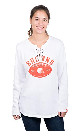 White Cleveland Browns Fleece (Icer Brands NFL Cleveland Browns Women's Fleece Sweatshirt Lace Long Sleeve Shirt, White, Medium)