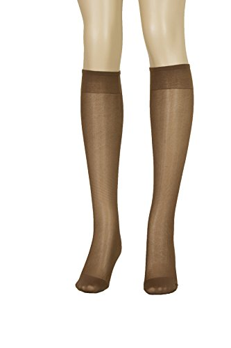 Lissele Full Support Women's Plus Size Knee High 3 Pack (Coffee, XXL)