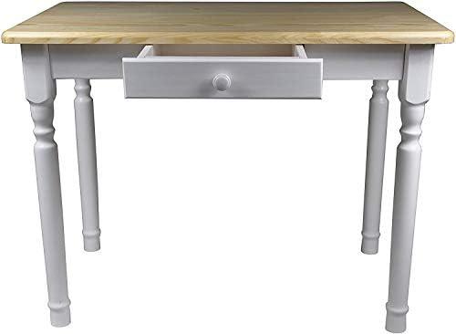 Magnetic Mobel Esstisch mit Schublade Küchentisch Tisch Massiv Kiefer Speisetisch massiv (50x70 cm, Unbehandelt)