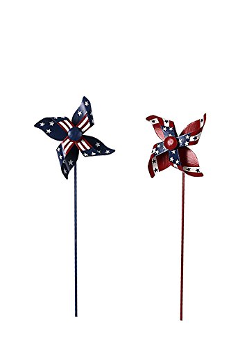 Waroom Home Patriotic Pinwheel Set of 2, American Flag Metal Wind Spinner for 4th of July Decoration, Stars and Stripes, Red White and Blue (12' Wind Spinner Spinners)